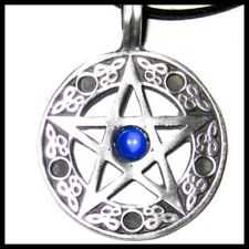 STAR PENTAGRAM PENDANT CORD NECKLACE BLUE CRYSTAL PAGAN PROTECTION mens womens