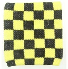 Unisex Black and Yellow Check Checkered Pattern Wristband Sweatband - Brand New