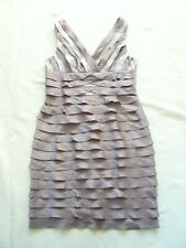 Adrianna Papell NEW sleeveless V neck taupe party dress Knee length UK 12