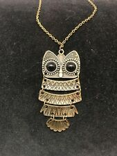 "Antique gold costume necklace Owl with Black eyes 26"" long chain"