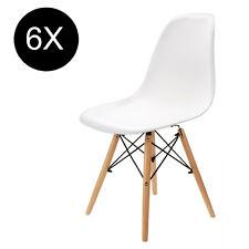 6x Esszimmerstuhl Wohnzimmer DSW Stuhl Kunststoff Büro Weiß eiffel stuhl