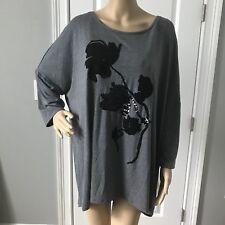 NWT Apt 9 Women's Plus Size 2X Gray Black Flower Embellished Shirt Top