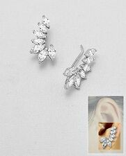Marquise Ear Pin 5A Cubic Zirconia Cuff Sterling Silver Earrings-Crawler-Vermeil