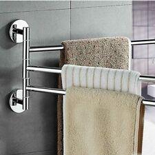 Stainless Steel Rotating Towel Rack Holder Hook Hanger Bar Bathroom Wall Mount