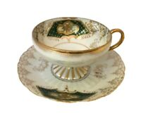 Antique Royal Sealy Footed Cup And Saucer Luster Background
