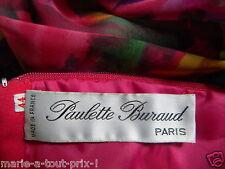PAULETTE BURAUD HAUTE COUTURE PARIS ROBE FUSHIA MOUSSELINE CACHE RONDEURS T 44