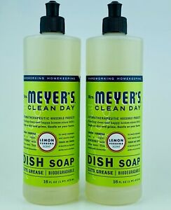2 Mrs. Meyer's Clean Day LEMON VERBENA Scent Dish Soap Cuts Grease 16 fl.oz
