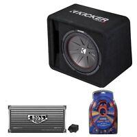 Kicker 12 Inch 1000W Subwoofer Box + 2000W Mono Amplifier, Remote + Wiring Kit