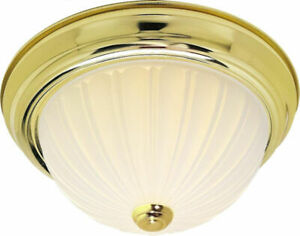 """Nuvo SF76/126 13"""" Two Light Flush Mount, Polished Brass"""