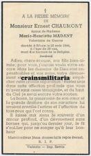 Doodsprentje oorlogsslachtoffer verzet Chaumont + Bihain Vielsalm 1944