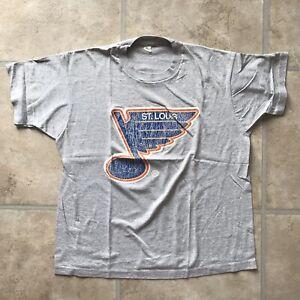 VINTAGE St. Louis BLUES t-shirt, SOFT, Authentic, NHL Heather Grey tee, XL - EUC
