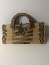 Bamboo Purse With Wood Handles. Small Size.