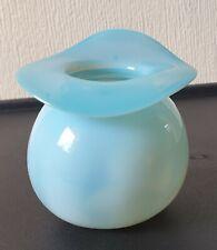 More details for fine art nouveau c.1900 opaline glass round free-form broad rim bud vase - mint