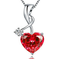 """4.03 Ct Created Ruby Heart Cut Pendant Necklace 925 Sterling Silver w/ 18"""" Chain"""
