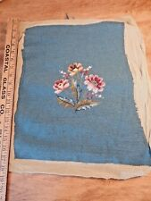 Completed Needlepoint Pink Flowers With Dark Aqua Background