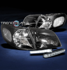 1997-2005 VENTURE TRANS SPORT CRYSTAL BLACK HEAD LIGHT LAMP+CORNER+WHITE LED DRL