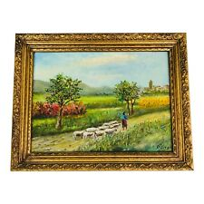 R Reitz Signed Oil Painting Featuring Person Walking Sheep Down Country Road Art