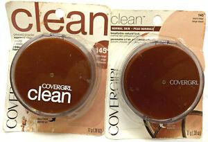 (2) Covergirl Clean Pressed Powder For Normal Skin 145 - Warm Beige