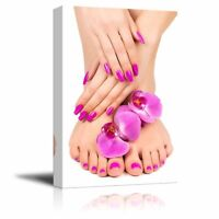 Canvas Prints Wall Art - Pink Manicure and Pedicure with a Orchid Flower -16x24