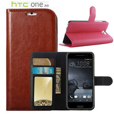 For Htc One A9 Premium Leather Wallet Flip Stand Card Case Cover Skin Protector