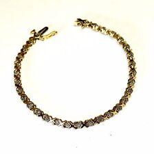 """10k yellow gold .93ct diamond XOXO tennis bracelet 6g vintage estate 7"""" antique"""