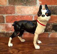 Cast Iron Black & White Boston Terrier Dog Vintage Door Stop