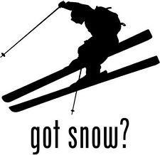 "Got Snow Skiing Car Window Decor Vinyl Decal Sticker- 6"" Wide White"
