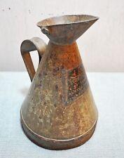 Original Old Vintage Iron Metal Oil Measuring Pot Jar