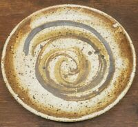 """Studio Art Pottery 12"""" Footed Plate Dish Mid Century Modern Stoneware Signed"""