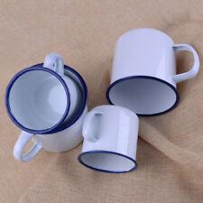 2pcs Enamel Mugs Cup Camping Hiking Coffee Milk Drinking Office Kitchen Mugs