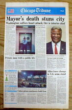 BEST 1987 newspaper w Sudden DEATH of CHICAGO 1st BLACK MAYOR HAROLD WASHINGTON