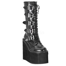 "* Demonia Matte Black 5.75"" Platform 5 Buckle Stompy Boots Gothic Goth Punk 11"