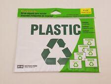 "Recycle Label Kit   6 Pack   7"" x 5"" Vinyl Labels   Kit-10   Plastic Glass Paper"