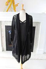 PRETTY ANGEL NWT Black 2PC Crochet Cardigan Waterfall Gothic Lace Boho Dress S