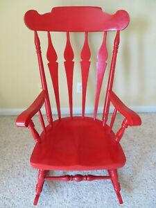 Rocking Chair Vintage Solid Hard Wood Unique Red Kid's Room Mint Condition