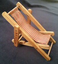 Old Advertising Premium C D Kenny Coffee Tea Beach Lounge Chair Wood Canvas