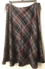 Jones New York Long Lined Plaid Argyle Skirt A-line Size 14 Black Gray Red White