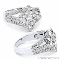 0.75ct Round Cut Diamond Pave Flower Right-Hand Cocktail Ring in 18k White Gold