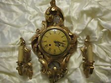 Carved and Gilt Wood Rococo Revival Cartel Clock & 2 Sconces wall set Sweden