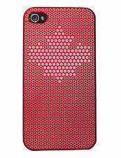 COVER CUSTODIA PER IPHONE 4 4S SEMI RIGIDA SOFT TOUCH CASE ROSSA STELLA BIANCA