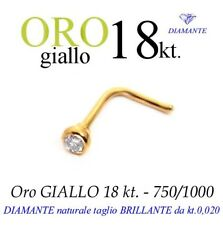 Piercing naso nose in ORO GIALLO 18kt. con DIAMANTE kt.0,020 yellow GOLD DIAMOND