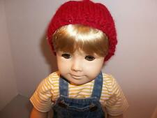 """Red Hand Knit Hat made for 15"""" or 18"""" American Girl Boy Doll Clothes New"""