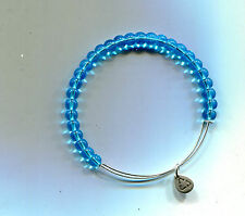 glass bead bracelet Retired Clearence Alex & Ani silver aqua marine