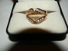 14K Double Ring Guard Yel Gold 7.2 DWT Sz 7 w/16 Diamonds .32 Carat