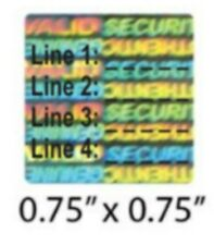 """500 Custom Security Hologram Labels Tamper Evident .75"""" Square Sticker Seals"""