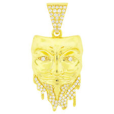 14k Yellow Gold Finish .925 Silver Guy Fawkes Mask Pendant Hip Hop Mens Iced Out