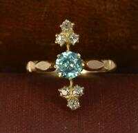 Edwardian 18ct Gold Blue Zircon and Old Cut Diamond Ring d0274