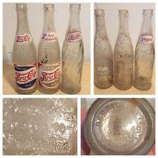 3 Pepsi Bottles 2 Full Glasses & Red White Blue Rare Old Script 1946 1949 40s +1