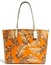New Coach 2850 Reversible City Tote with Banana Leaves Print Redwood multi