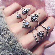 7Pcs/ Set Vintage Bohemian Retro Arrow Moon Midi Finger Knuckle Rings Jewelry